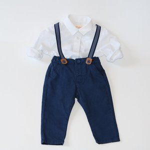 Navy Pants with Suspenders 6-9M